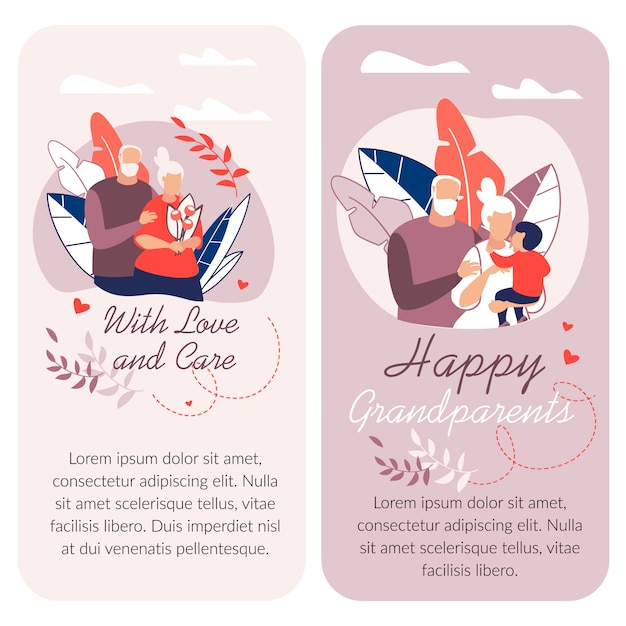 幸せな祖父母の日、テキストテンプレートと漫画イラスト Premiumベクター