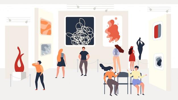 Посещение выставки современного абстрактного искусства в галерее Premium векторы