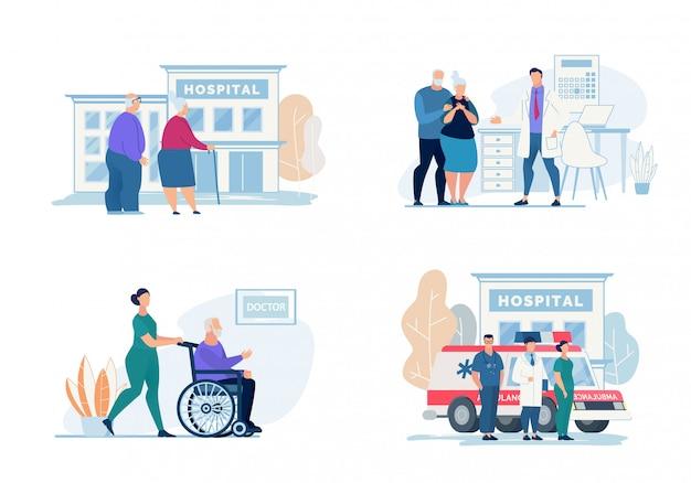 明るいフライヤー病院訪問レタリング、漫画。 Premiumベクター