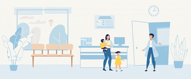 Мультфильм женщина с детьми в гостях у педиатра Premium векторы