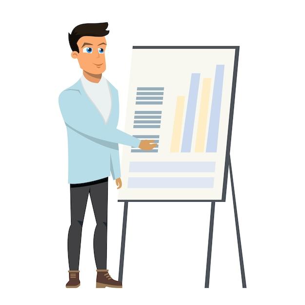 ホワイトボード上の図グラフを指しているビジネス男 Premiumベクター