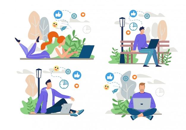 フリーランサー、ブロガーのオンライン作業、ネットワーキングセット Premiumベクター