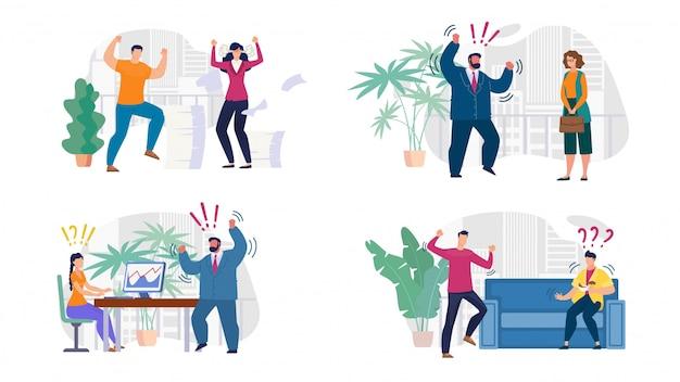 積極的な人の同僚、上司および従業員セット Premiumベクター