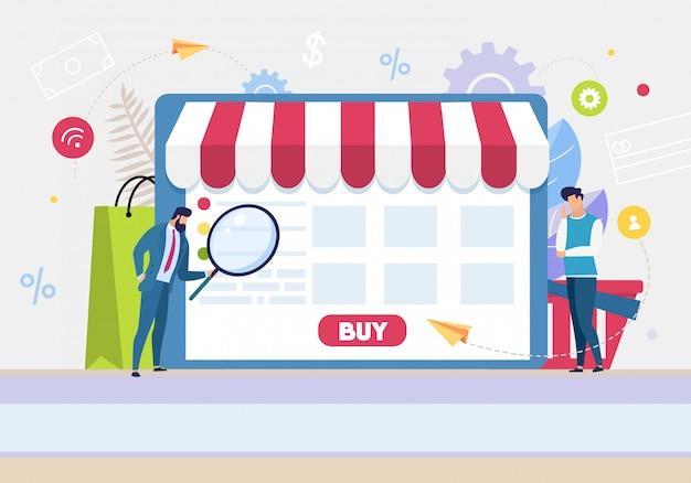 漫画の人々はオンラインショッピングのためのアプリケーションを使用します Premiumベクター