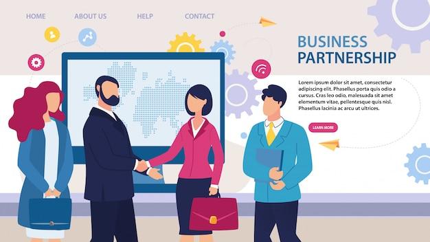 ビジネスパートナーシップランディングページフラットデザイン Premiumベクター