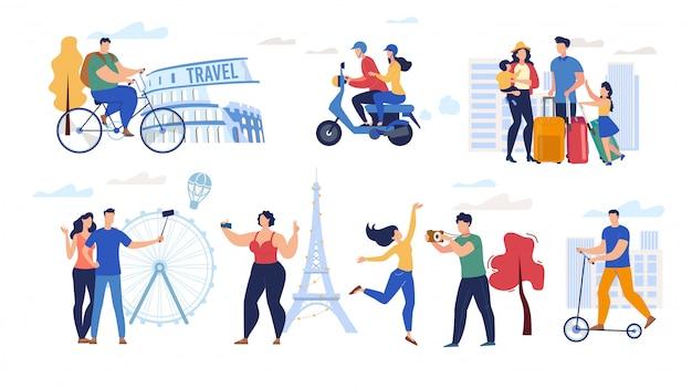 Путешествие людей плоский набор символов Premium векторы