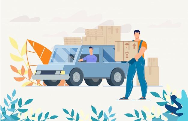Водитель доставщик на грузовике с посылками в коробках Premium векторы