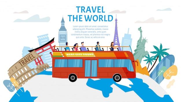 Автобусный тур экскурсии сервис квартира баннер Premium векторы