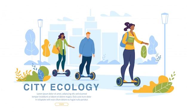 Городские жители вождение экология транспорт веб-страница Premium векторы