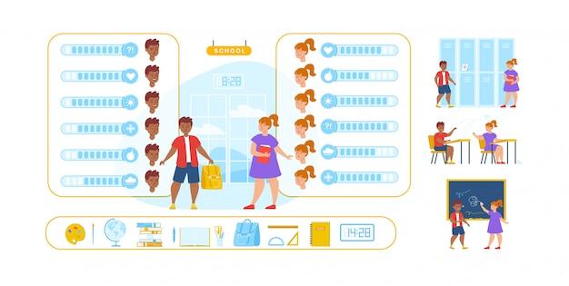 Ученик конструктор персонажи, эмоции, набор сцен Premium векторы
