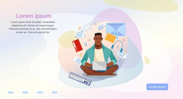 Онлайн-курсы мультфильм вектор шаблон веб-страницы Premium векторы