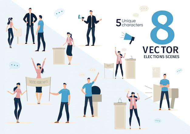 Агитация за демократические выборы плоских векторных сцен Premium векторы