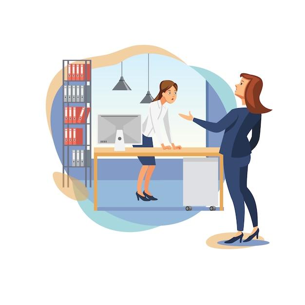 女性の上司叱るオフィスワーカーフラットベクトル Premiumベクター