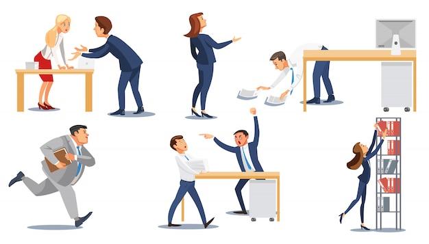 仕事でストレスのビジネス人々フラットベクトルを設定 Premiumベクター