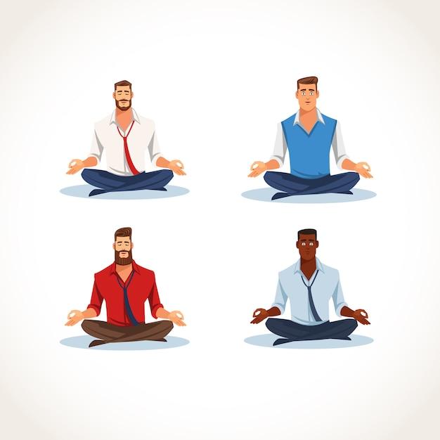 瞑想ビジネス人々フラットベクトルのセット Premiumベクター
