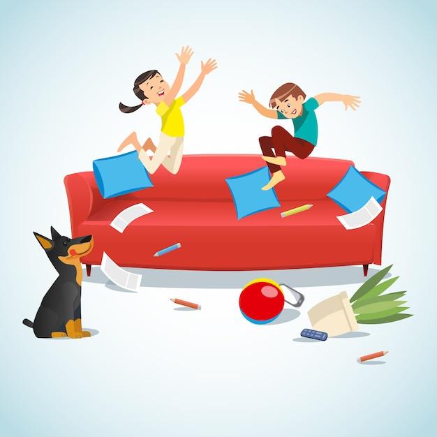 子供たちはボールで遊んでソファの上にジャンプ Premiumベクター