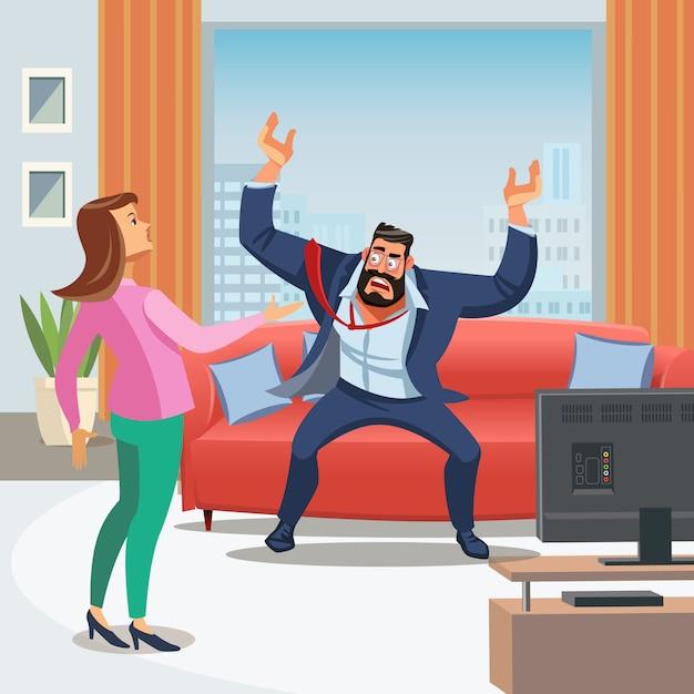 ストレスの多い家庭環境のベクトル画像 Premiumベクター