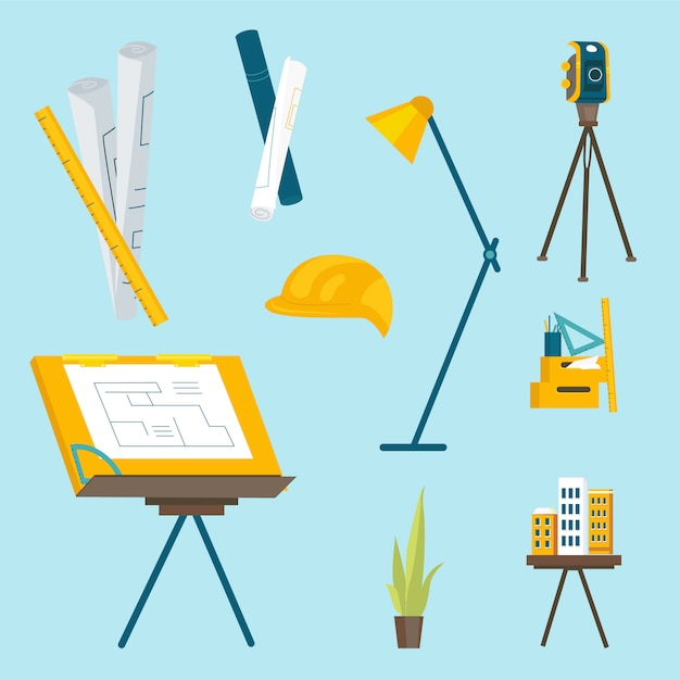 建築家が作業するための一連の作業ツール Premiumベクター