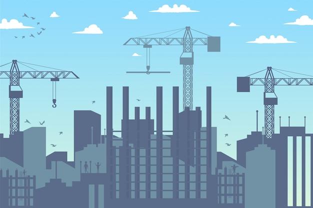 街の新地区のパノラマ建設 Premiumベクター