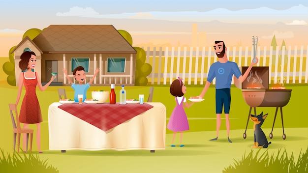 幸せな家族は休日の夕食を食べます Premiumベクター