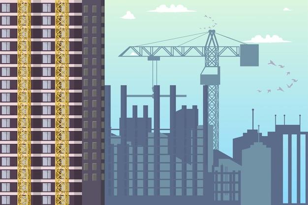 建設の新地区シティのパノラマ Premiumベクター