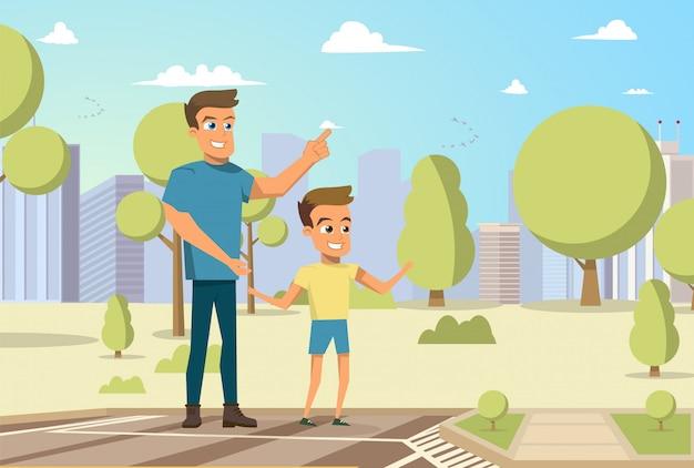 Векторные иллюстрации мультфильм маленький мальчик и мужчина Бесплатные векторы