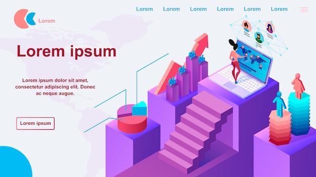 ビジネスマーケティングサービスのウェブサイトベクトルテンプレート Premiumベクター