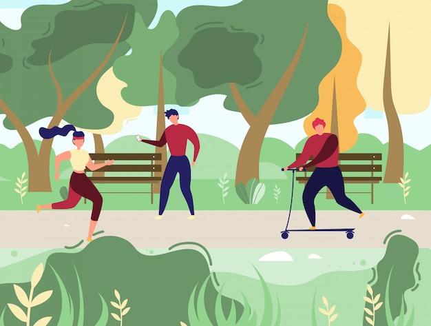 安静時と公園ベクトルでスポーツをしている人々 Premiumベクター