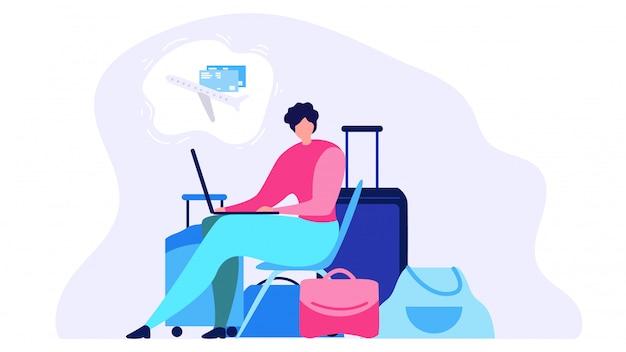 航空券オンラインフラットベクトル概念を注文する Premiumベクター