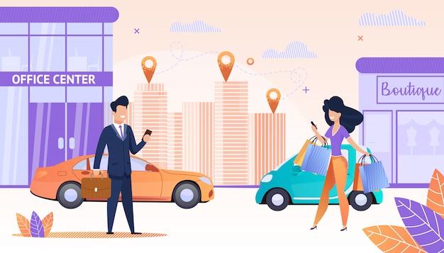 アプリを使用している人々と大都市を表示 Premiumベクター