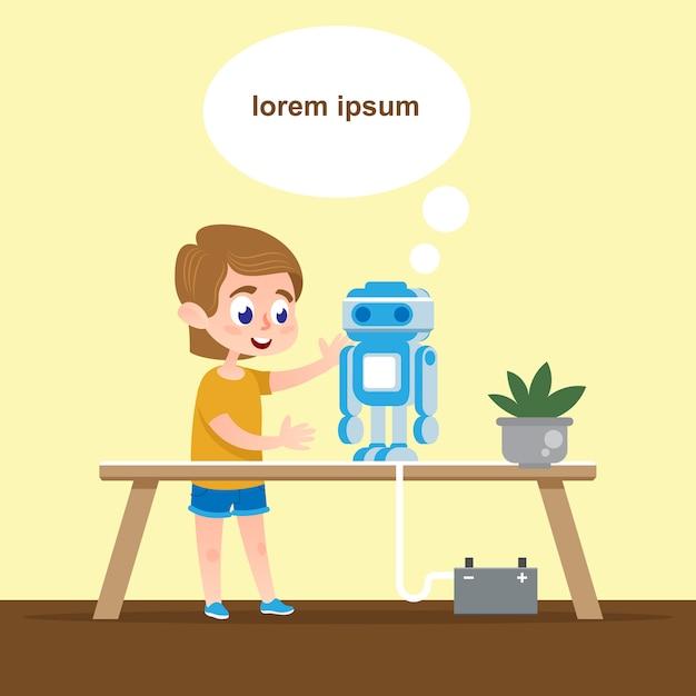 トーキングロボットモデルによるスマートキッド Premiumベクター