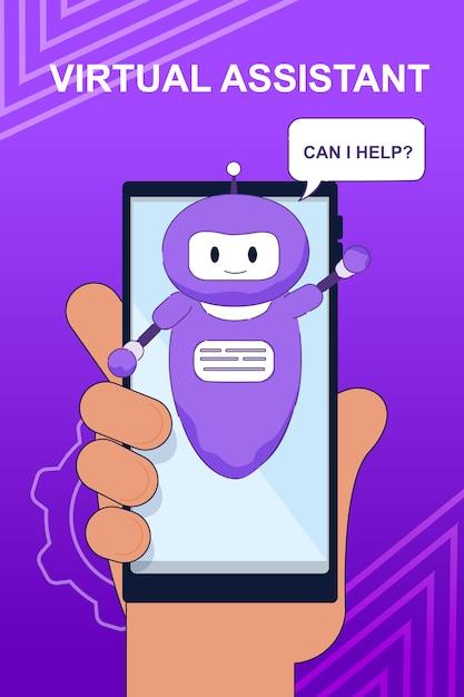 モバイル用チャットボット仮想アシスタント付きバナー Premiumベクター