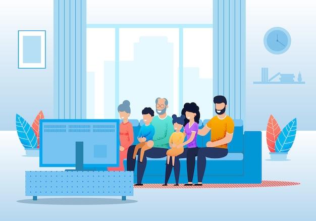 Большая мультипликационная семья смотрит телевизор вместе Premium векторы