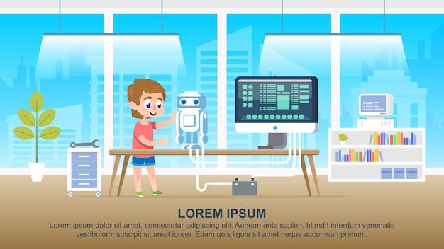 教室でロボットを作るスクールキッドキャラクター Premiumベクター