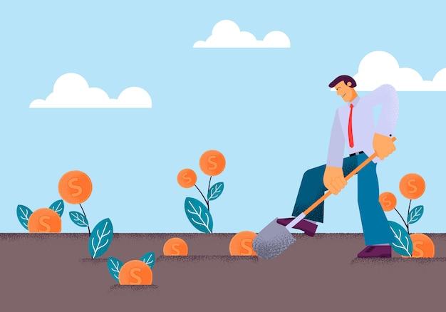 シャベル菜園で掘るベクトルフラット若い男 Premiumベクター