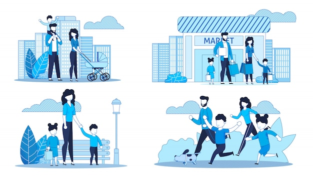家族一緒に過ごす時間とフラットカードセット Premiumベクター
