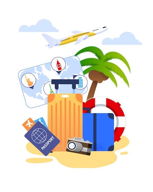 旅行の必需品や観光商品の夏休みの漫画 Premiumベクター