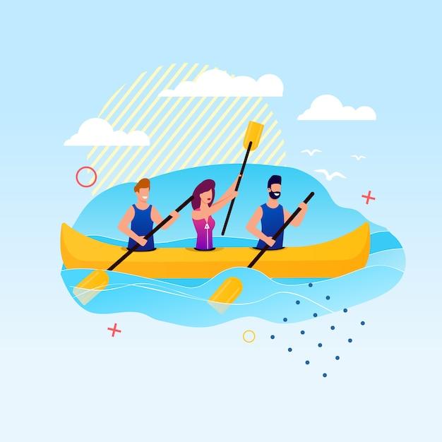 カヌーで漕ぐ漫画人。スラロームカヤックイベント Premiumベクター