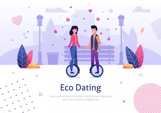 Эко знакомства и мужчина женщина ездить на моноцикле в парке Premium векторы