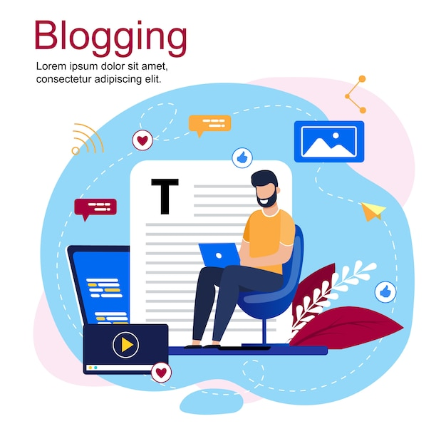 Надпись блогов мультфильм и бородатый мужчина, сидя в кресле с ноутбуком Premium векторы