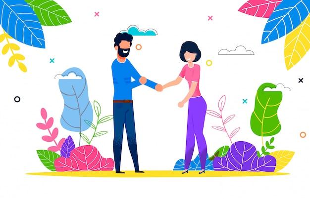 Счастливая молодая пара в любви мужчина и женщина на прогулке Premium векторы