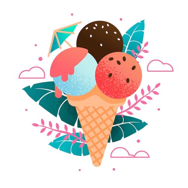 エキゾチックな葉に甘い冷たい新鮮なアイスクリームコーンの漫画 Premiumベクター