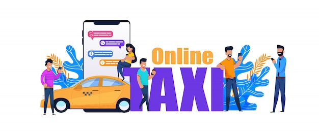 Онлайн такси смартфон книга. желтый городской транспорт Premium векторы