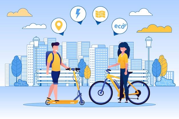 男乗馬スクーター、自転車、エコの概念上の女性。 Premiumベクター