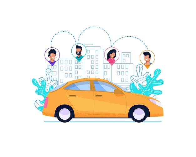 Желтый автомобиль на трассе в городе. Premium векторы