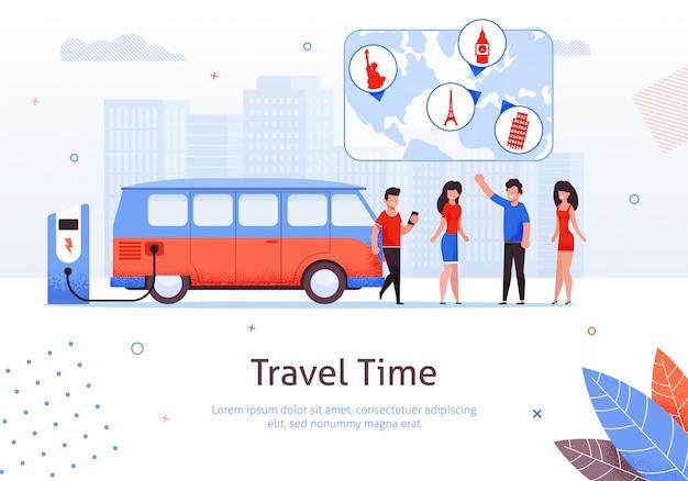 Время поездки мужчина и женщина друг минивэн автопутешествие Premium векторы