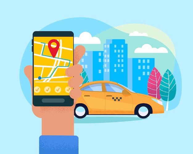 現代のタクシーオンラインサービスの図。 Premiumベクター
