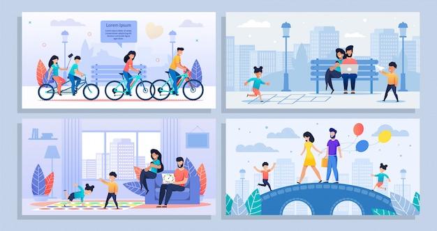 Мультфильм плакат набор с различными семейными мероприятиями Premium векторы