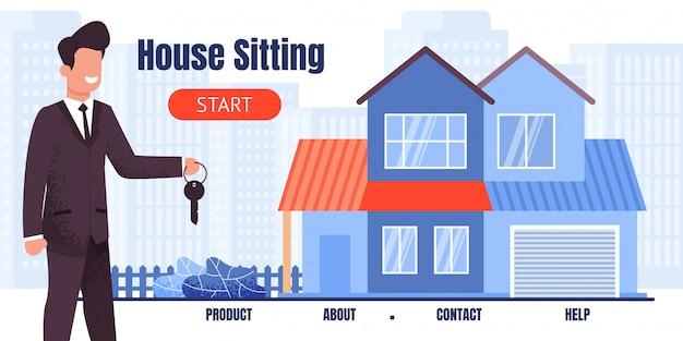 便座のある家に座っているランディングページ Premiumベクター