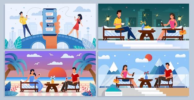 オンラインデートチャット、ロマンチックなミーティングセットの人々 Premiumベクター